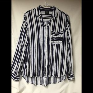 Women's Striped Blue High Low Hem Shirt